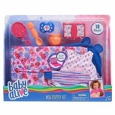 BABY ALIVE New Mommy Kit ACCESSORY SET - Diapers Bag Outfit Spoon Pacifier -