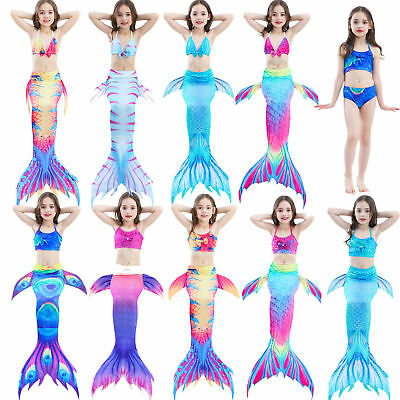 Kids Girls Fairy Mermaid Tail 3pcs Bikini Scales Swimmable Swimwear Costumes - Fall Fairy Costume