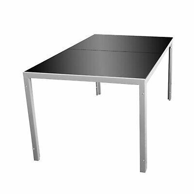 Wohaga® Gartentisch 'London' 150x90cm Glastisch Terrassentisch Silbergrau  (Terrasse Tisch Schwarz)