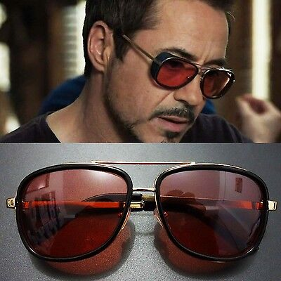 Tony Stark Iron Man Sunglasses Men Luxury Brand Eyewear Mirror Vintage Male (Cool Eyewear Brands)