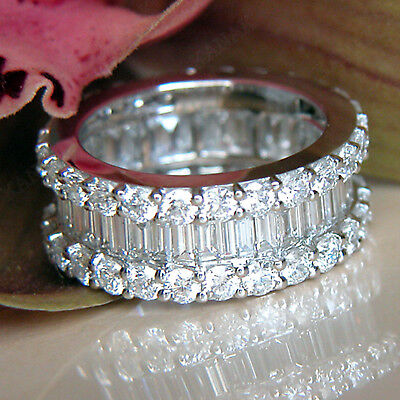 6 CT Baguette and Round Diamond 10k White Gold Eternity Wedding Band Ring