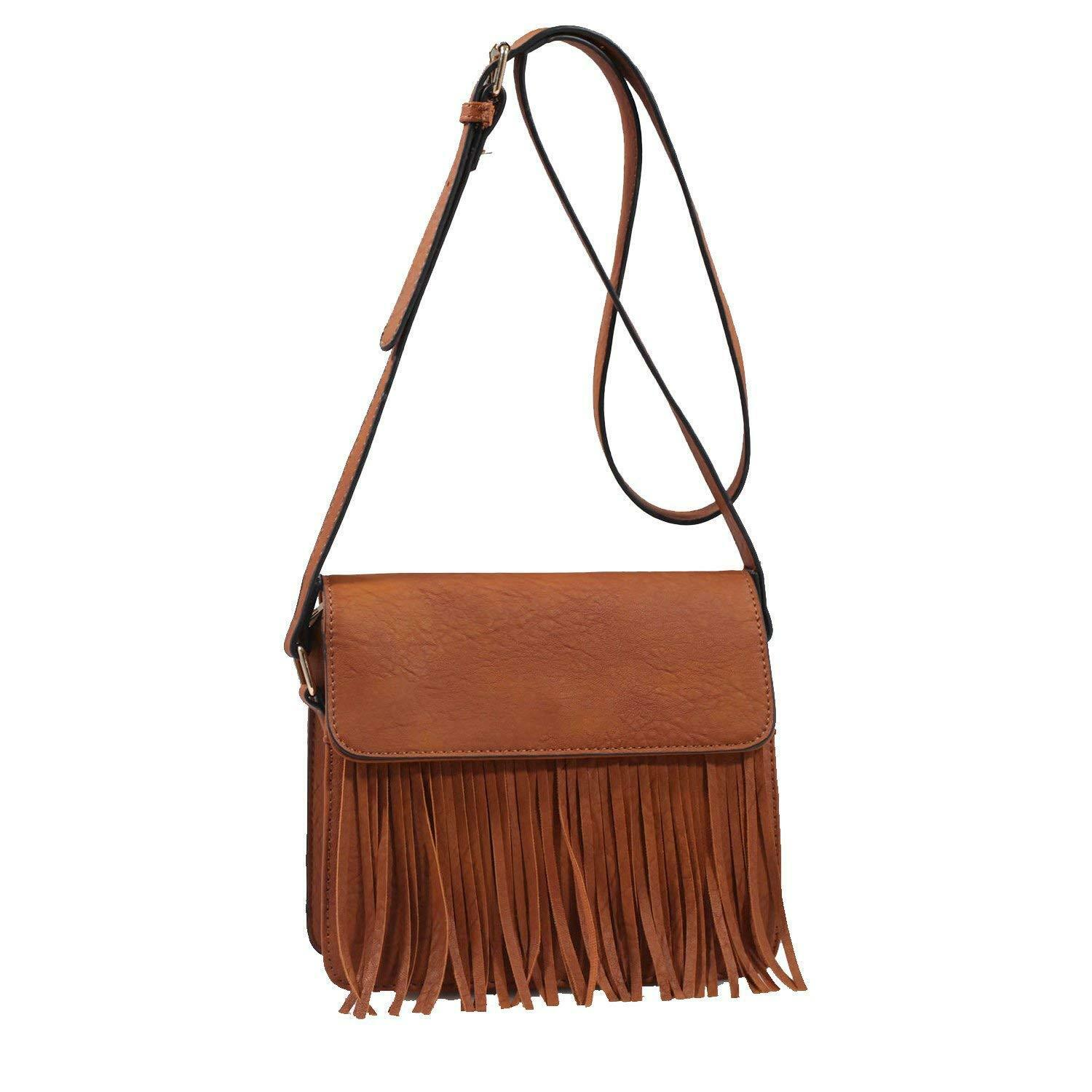 Isabelle Faux Leather Fringe Tassels Crossbody Bags