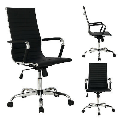 New Black Modern Ergonomic Ribbed High Back Executive PU Leather Office Chair on Rummage
