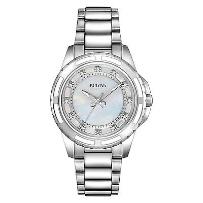 Bulova Women's Quartz Diamond Accent Markers Silver-Tone 32mm Watch 96P144