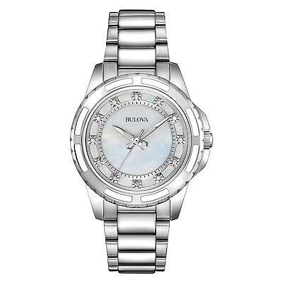 Bulova Women's 96P144 Quartz Diamond Dial Silver Tone Dress Watch