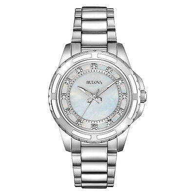 Bulova Women\s 96P144 Quartz Diamond Dial Silver Tone Dress Watch