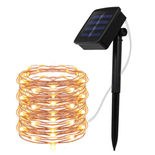 Outdoor Solar Powered LED String Fairy Mini Light Copper Wir