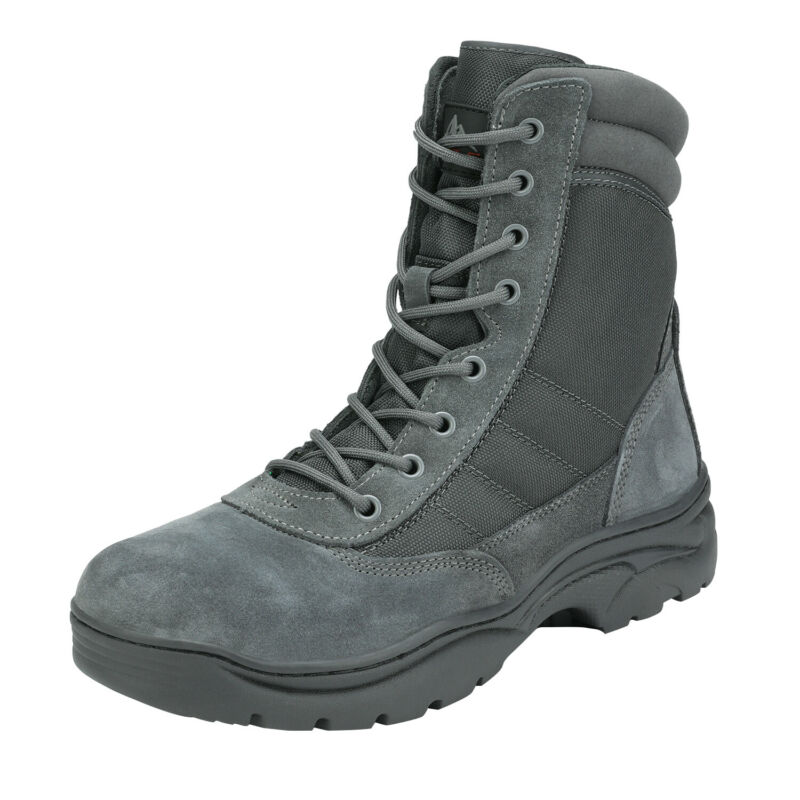 Mens Tactical Duty Boots Army Military Leather Motorcycle Combat Hiking Boots