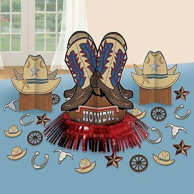 WESTERN TABLE Decorating Kit Cowboy Ranch Hats Boot Decorations Party Centerpiec