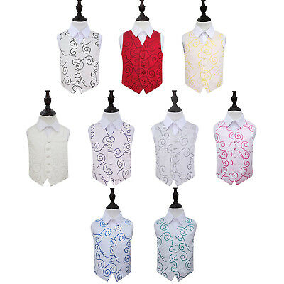 DQT Woven Scroll Tuxedo Communion Page Boys Wedding Waistcoat 2-14 - Communion Boys