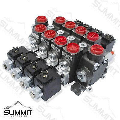 Hydraulic Solenoid Directional Control Valve Double Acting 4 Spool 27 Gpm 12
