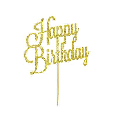 Muffin Topper (Torten Kuchen Muffin Topper Aufsatz Happy Birthday Geburtstag Deko - Gold)