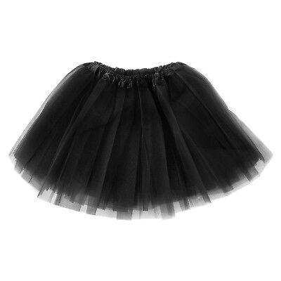 Tütü Tüllrock Ballettkleid Damen Frauen 3 Lagen Kostüm Fasching Party Schwarz