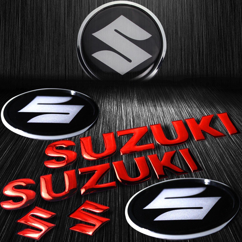 "8/"" ABS Logo+Letter Glossy Decal+2/""3D Fairing Emblem Sticker Suzuki Chromed Red"