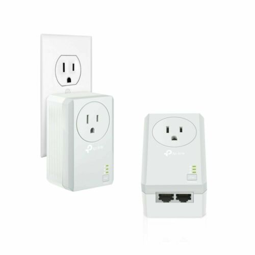 TP-LINK 2-Port Powerline Adapter with AC Pass-Through Starter Kit White/Gray TLPA4020PKIT