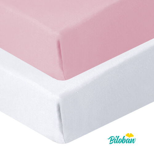 """Pack N Play Fitted Sheet Mini Crib Mattress Sheets 2 Pack White & Pink 39""""x27"""""""
