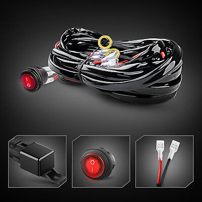 Harness Kit - GOOACC 12ft LED Light Bar Wiring Harness Kit 12V Fuse Relay ON/OFF Switch-2 Lead