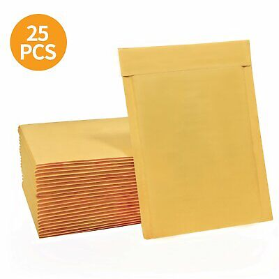 25 Pcs 6x10 Kraft Bubble Mailers Wrap Padded Envelopes Golden Paper Self Seal