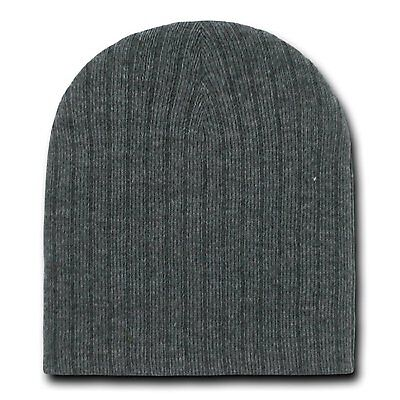 Short Cable Beanie (CHARCOAL GREY CABLE KNIT SHORT BEANIE CAP SKI SKULL CAPS HAT HATS )