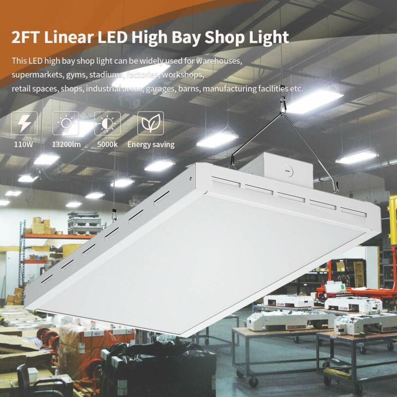FaithSail 2FT 110W LED Linear High Bay Shop Light Garage Warehouse Light 5000K