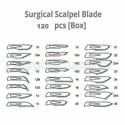 120 Surgical Sterile Scalpel Handle Blades 10 11 15 20 21 22 Surgical 2
