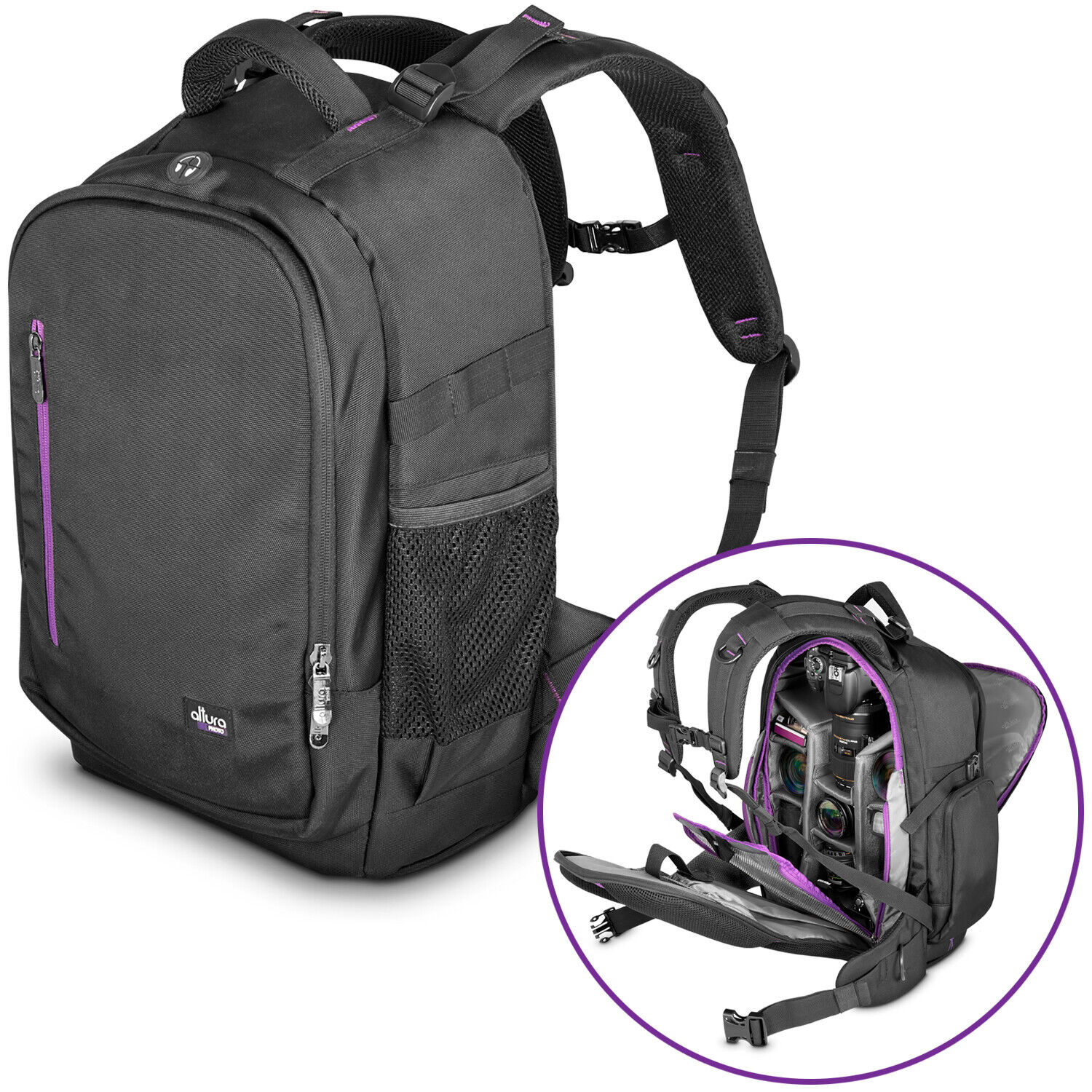 Large Camera Backpack Bag with Waterproof Cover for Canon Nikon by Altura Photo® -   10 - Large Camera Backpack Bag with Waterproof Cover for Canon Nikon by Altura Photo®