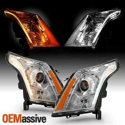 Fits 10-14 Cadillac SRX LED Switch-Back DRL Projector Headlights Chrome Assembly