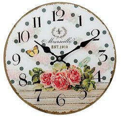 Clayre&eef Vintage Wall Clock Decor Shabby Cottage Roses Glass 11 13/16in