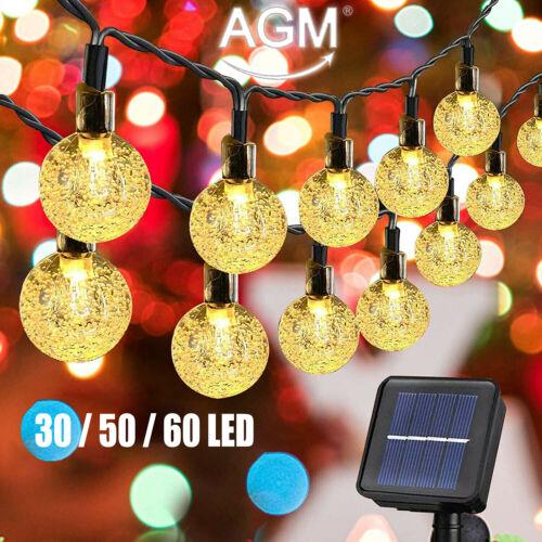 Solar Lichterkette Kugel Beleuchtung Lampe 30/50/60 LED Garten Party Außen Deko