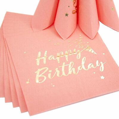 20 Happy Birthday Servietten Tischdeko für Geburtstag Party Rosa Gold Dekoration
