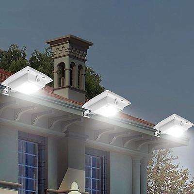 Solar Powered Motion Sensor Outdoor Garden Wall Fence 6 LED Gutter Light White