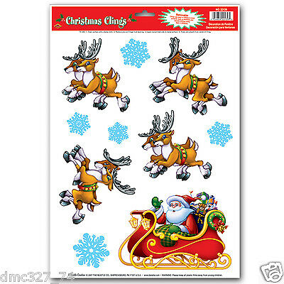 1 Sheet CHRISTMAS Party Decoration WINDOW CLINGS Cling SANTA & REINDEER