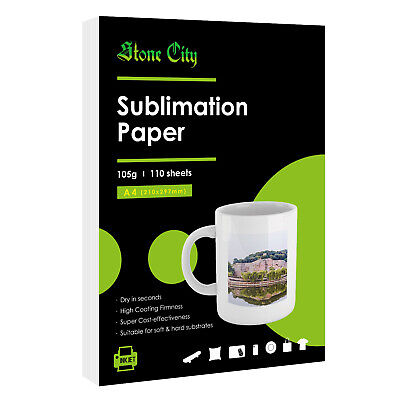 110 Sheets A4 Dye Sublimation Heat Transfer Paper Cotton Polyester TShirts Mugs