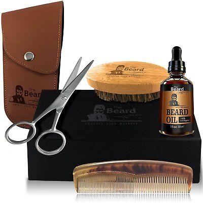 Beard Grooming Kit Scissors Facial Trimming Organic Oil Comb Brush Trimmer Best