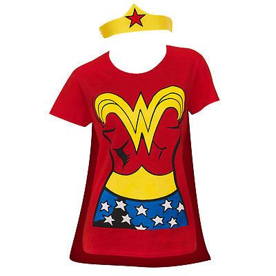 Wonder Woman Cape And Tiara Costume Tee Shirt Red