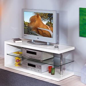banc television armoire basse meuble support tele blanc brillant verre