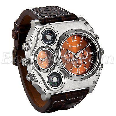 Men Army Sports Fashion Two Time Zones Big Dial Leather Strap Quartz Wrist Watch