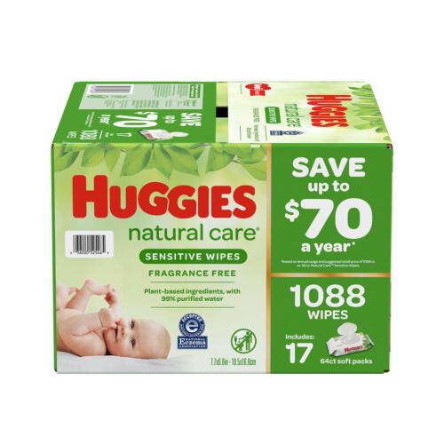✔️Huggies Natural Care Sensitive Baby Wipe Refill Fragrance Free 1,088 ct