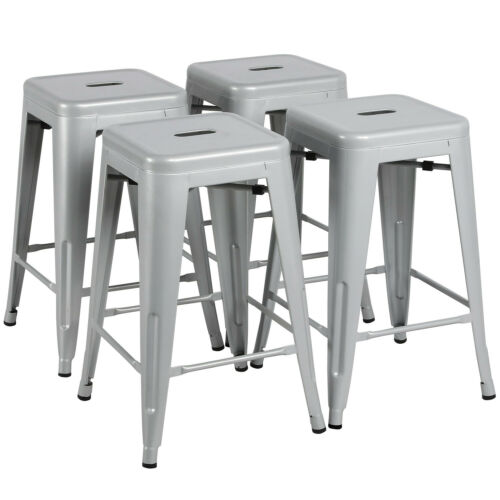 Incredible Details About 24 Metal Bar Stools Set Of 4 Backless Stackable Counter Height Kitchen Silver Ncnpc Chair Design For Home Ncnpcorg