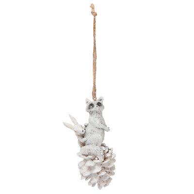 Clayre Eef Navidad Decoración Adorno Mapache Conejo Piña de Abeto Árbol
