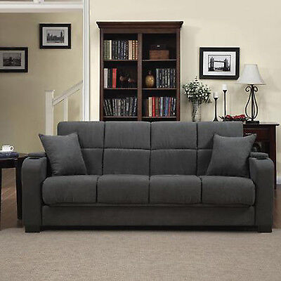 Convertible Sofa Sleeper Gray Microfiber Full Bed Large Couch Arms Modern Soft