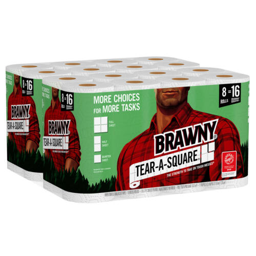 Brawny Tear-A-Square Paper Towels,Quarter Size Sheets, 16 Rolls, 128 Sheets/Roll