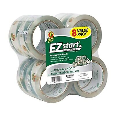 Duck EZ Start Packing Tape, 1.88 Inches x 54.6 Yards, Clear, 8 Pack (282404)