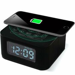 Homtime Wireless Charging Alarm Clock Radio Bluetooth Speaker (Black)