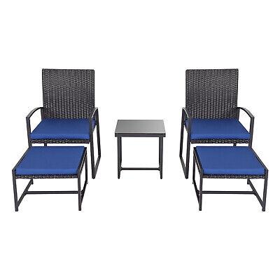 Garden Furniture - 5PCS Rattan Patio Furniture Set Bistro Chairs Ottoman Cushioned Garden