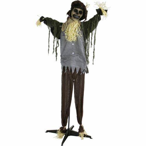 Haunted Hill Farm Life-Size Animatronic Scarecrow , Indoor/Outdoor Halloween Dec