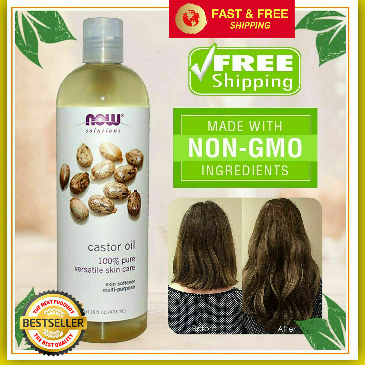 Organic Castor Oil - For Hair, Eyelashes, and Eyebrows Growt