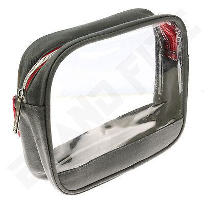Clear Transparent Compact Wash Bag - Toiletry Cosmetics - Airport Travel Pouch