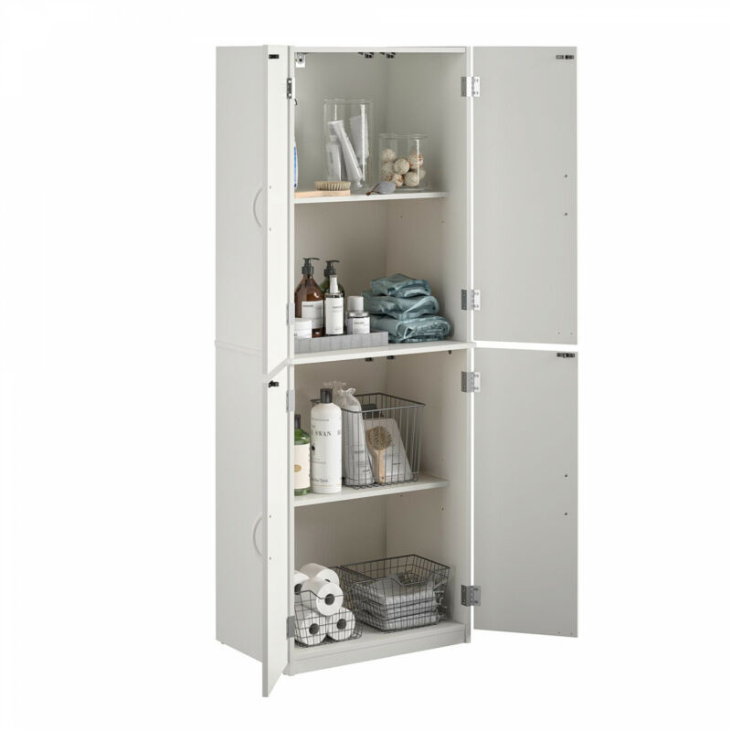 White Kitchen Pantry or Bathroom Storage Organizer Tall Wood Cabinet W/ Shelves