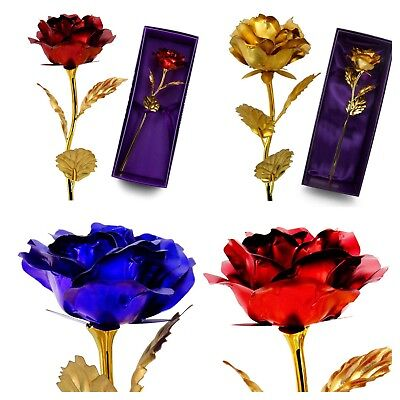 Rose Valentines Day Best Gifts For Her Womens Artificial Flower 24K Gold (Best Valentines For Her)